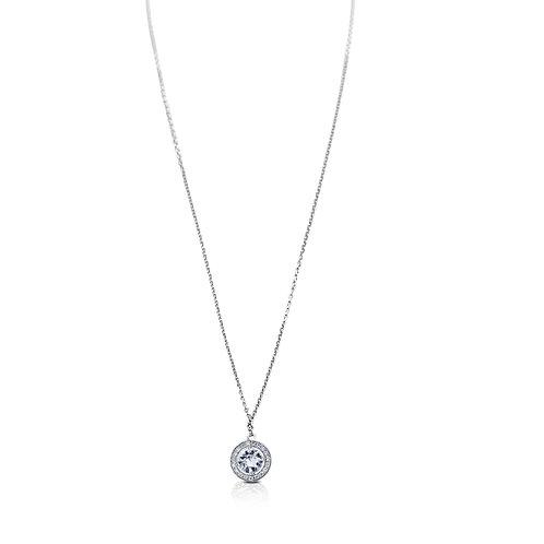 Halo White Diamond White Sapphire White Gold Necklace