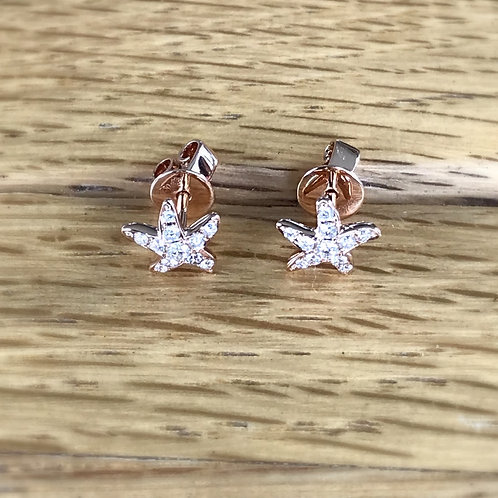 Mini Starfish Pink White Diamond Rose Gold Studs