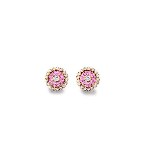 Evil Eye Intense Pink Rose Gold Ear Studs