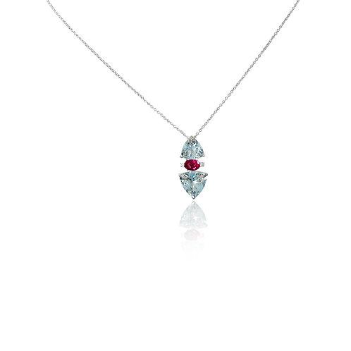 Aquamarine Pink Tourmaline Diamond Pendant
