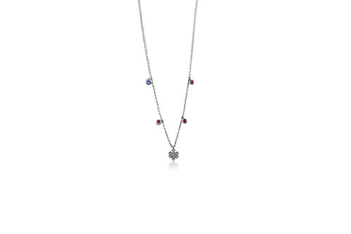 Mini Endless Love Sapphire White Gold Necklace