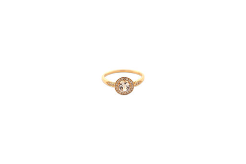 Halo White Diamond White Sapphire Rose gold Ring
