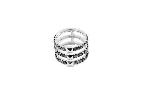 Coquette Black Diamond Silver Ring