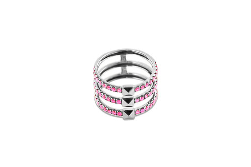 Coquette Pink Sapphire Silver Ring