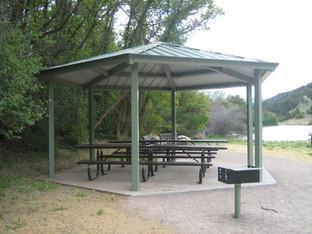 Steel shelter in park near Basalt