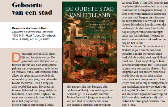 "Recensie ""De oudste stad van Holland"" in Kleio"