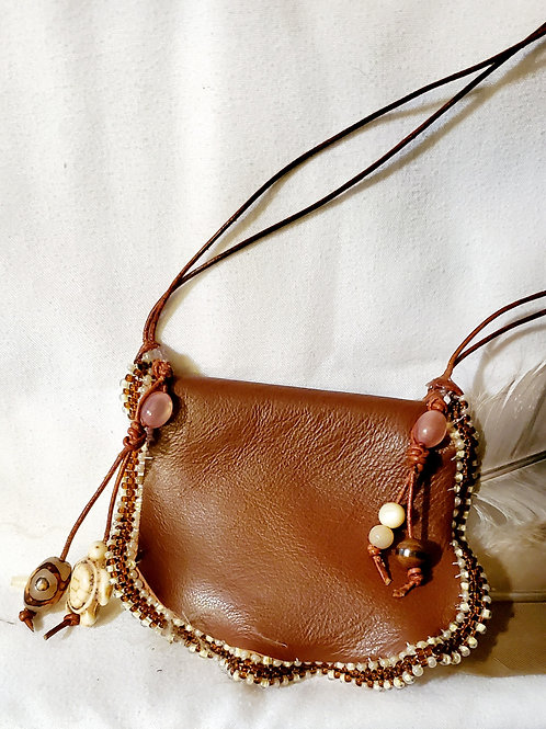 Brown leather, handsewn medicine/trinket pouch