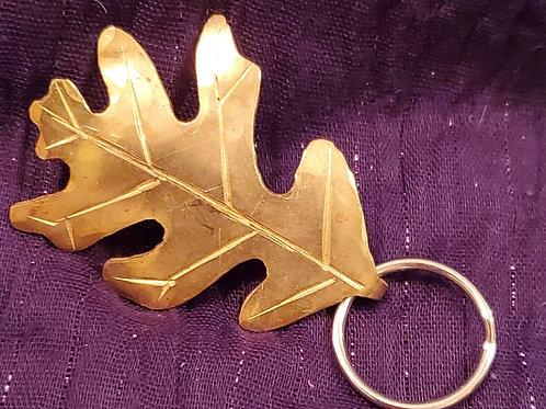 handcrafted brass oak leaf keychain
