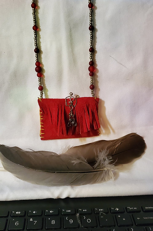 red suede leather medicine/trinket pouch