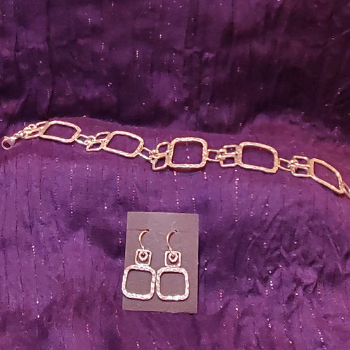 textured square link sterling silver bracelet and matching earrings