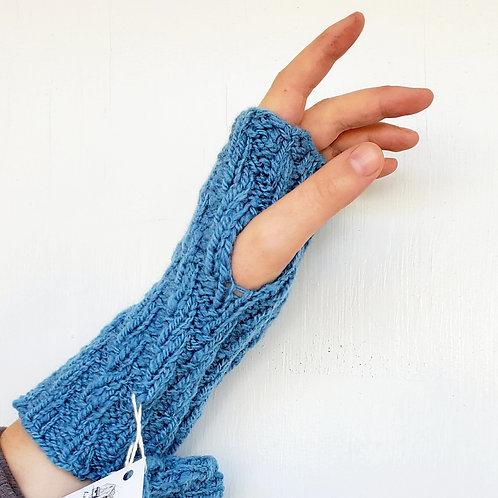 slate blue spiral pattern fingerless gloves