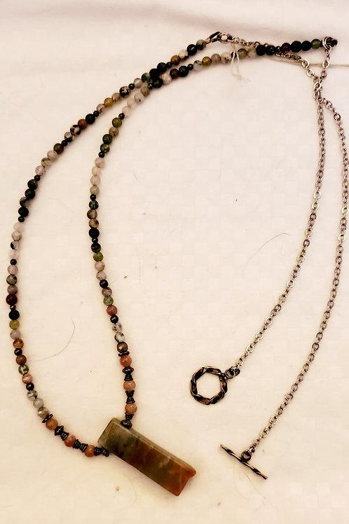 jasper, rhodochrosite, moss agate, sterling silver