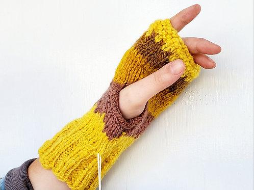 Goldenrod, brown large fingerless glove