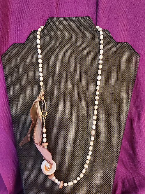 "23"" shell and fresh water pearl, dyed mother of pearl and sterling spacer beads"
