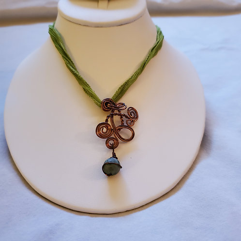 Freeform copper wrapped pendant with unpolished turq. bead