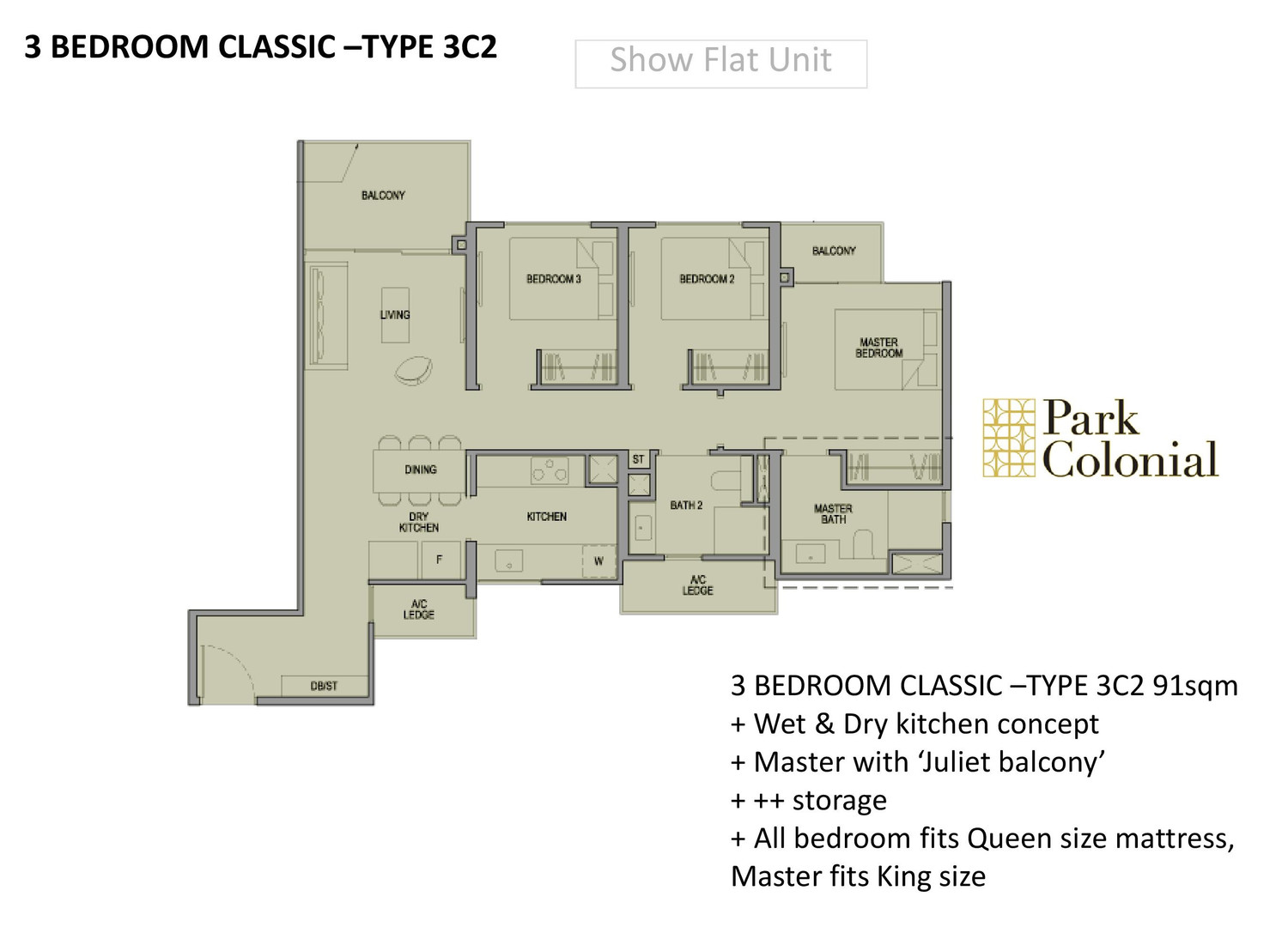Park Colonial 3 Bedroom Classic - Type 3C2.