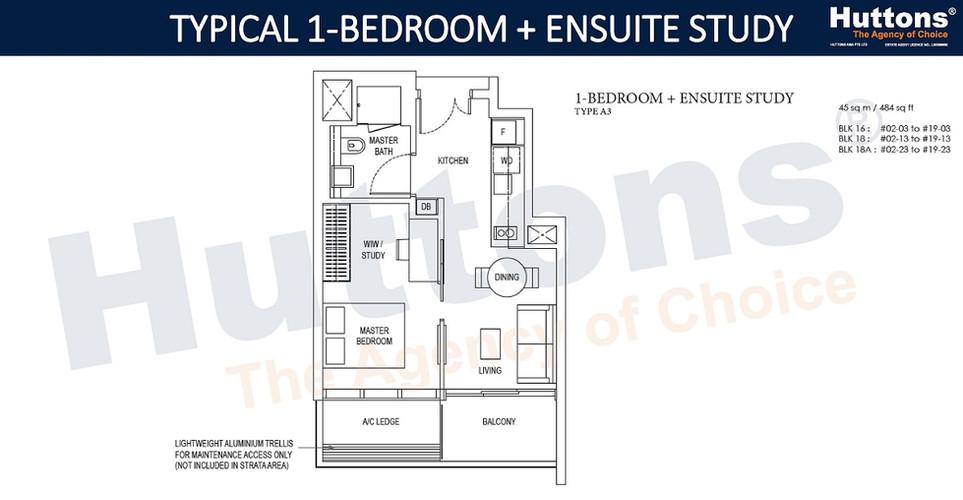 Amber Park - 1 Bedroom w Ensuite Study