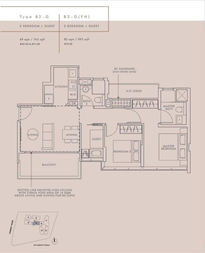 2 Bedroom + Guest Type B2G