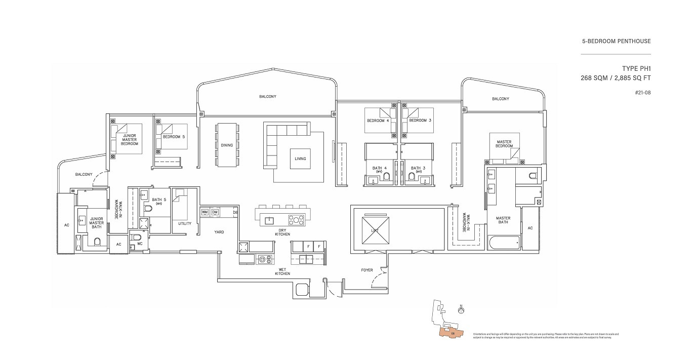 5 Bedroom Penthouse Type PH1