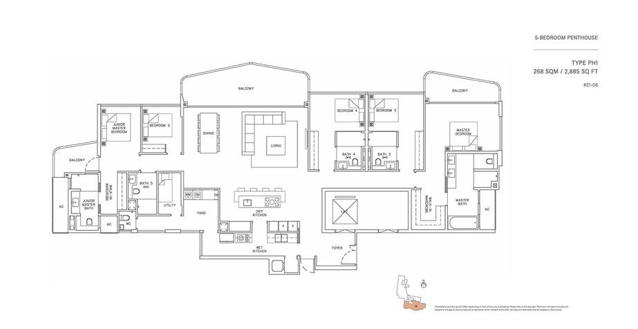 5 Bedroom Penthouse Type PH1