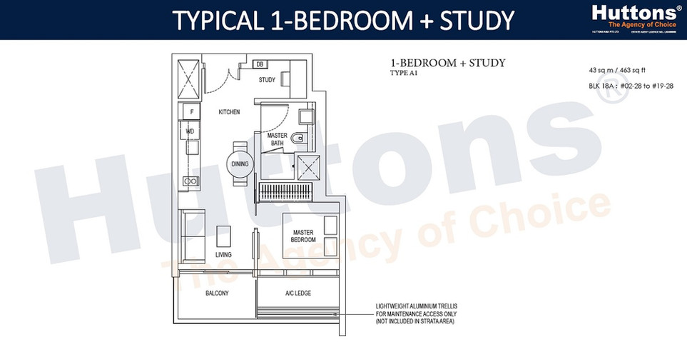 Amber Park - 1 Bedroom Study