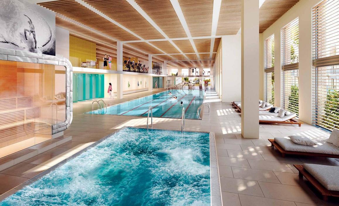 Royal Wharf indoor swimming pool