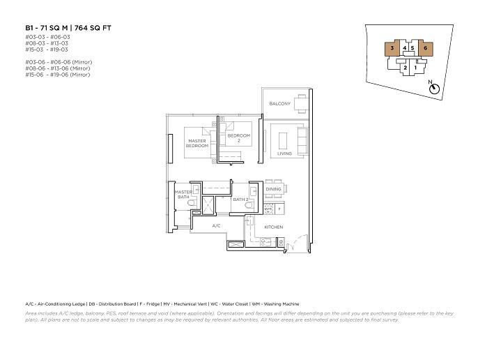 3 Cuscaden 2 Bedroom Type B1