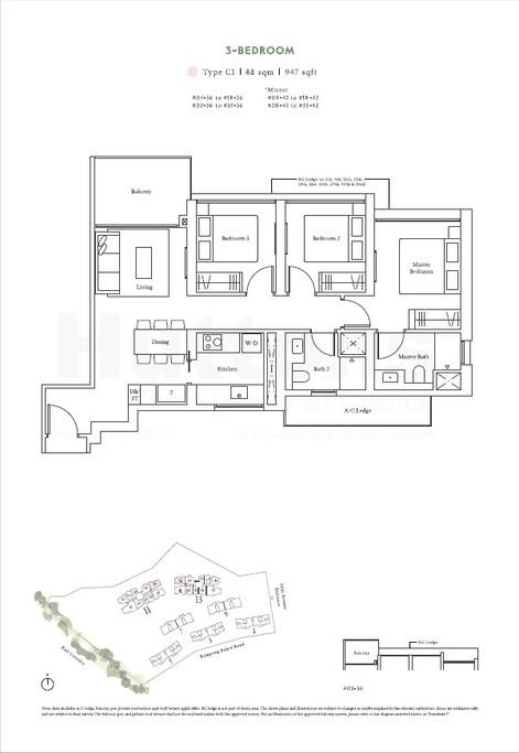 3 Bedroom 947sqft