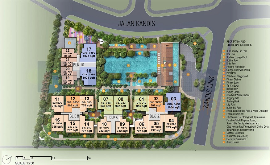 Kandis Residence Site plan with unit mix