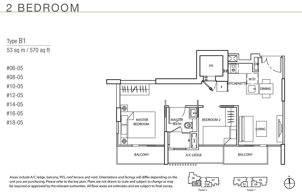 The Line _ Tanjong Rhu 2 Bedroom Type B1
