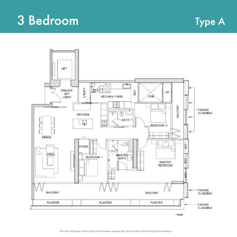 Canninghill Piers - 3-Bedroom Type A