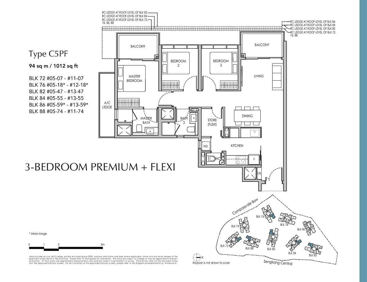Sengkang Grand 3-Bedroom Premium + Flexi