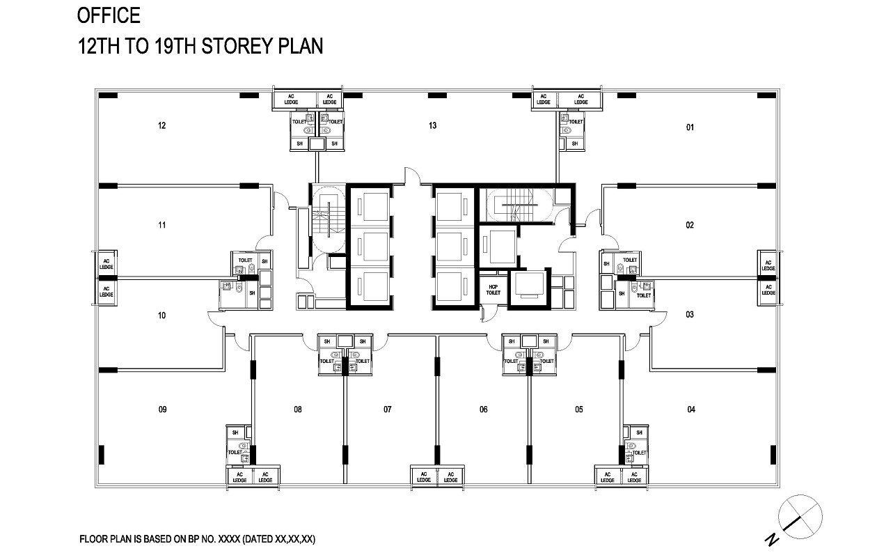 Centrium Square typical floor plan from 12th to 19th storey