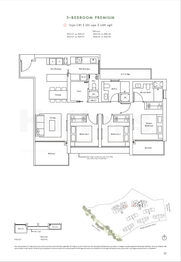 3 Bedroom Premium 1109sqft