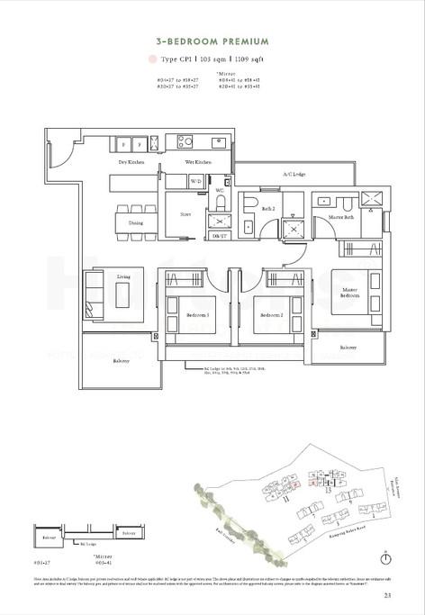 3 Bedroom Premium 1109sqft
