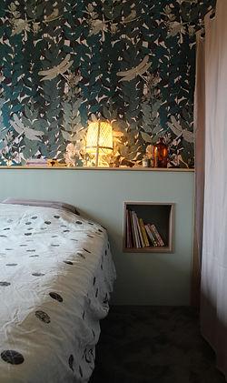 niche encastrée chambre papier peint