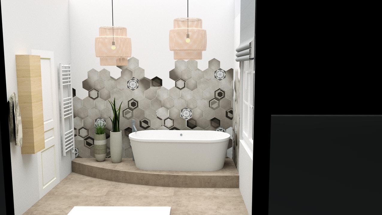 salle de bain carreaux hexagone
