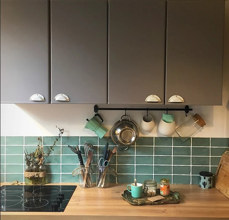 cuisine zellige vert d'eau
