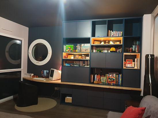 meuble ur mesure gris et bois