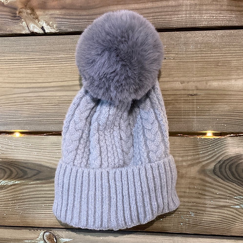 Grey Cashmere Blend Bobble Hat