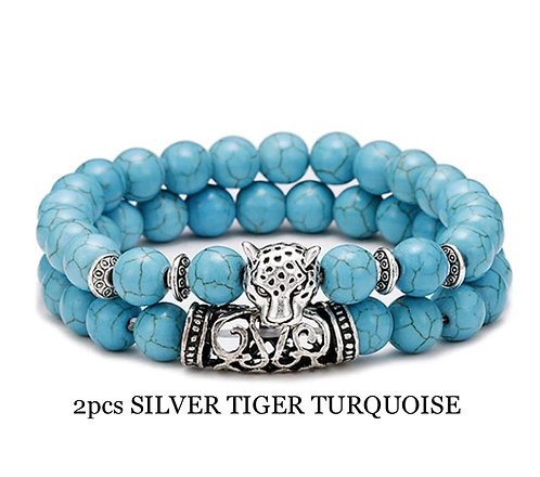 Two Piece Set Silver Tiger Turquoise Gemstone Bracelets