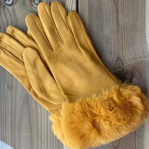 Ladies Gloves Faux Fur Cuff Mustard