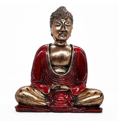 Medium Hand Painted Red Buddha