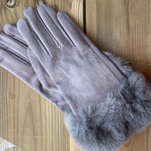 Ladies Gloves Faux Fur Cuff Grey