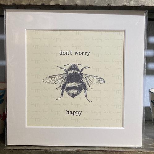 bumble bee happy image mounted print