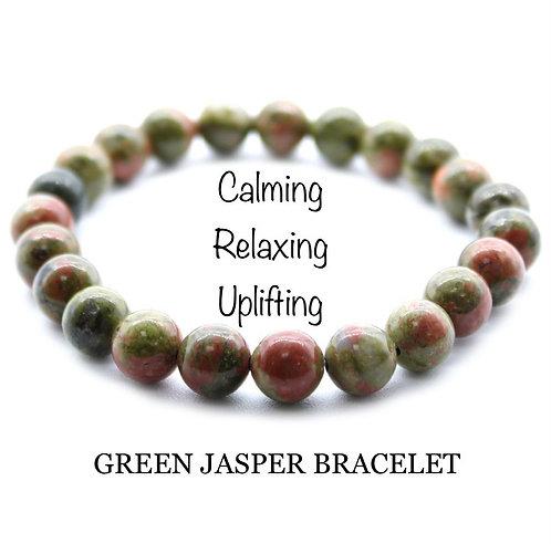 Unisex Green Jasper Gemstone Bracelet (calming*relaxing*uplifting)