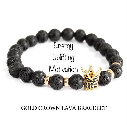 Unisex Gold Crown Lava Stone Bracelet (energy*uplifting*motivation)