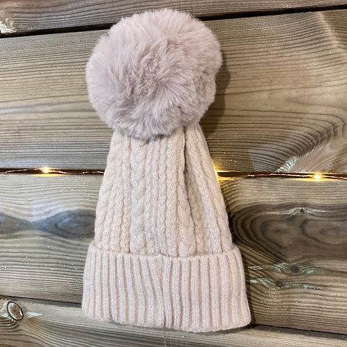 Beige Cashmere Blend Bobble Hat
