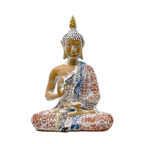 15cm Thai Buddha - Protection - Terracotta & Sky Blue
