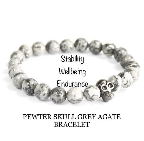 Unisex Pewter Skull Grey Agate Gemstone Bracelet (stability*wellbeing*endurance)